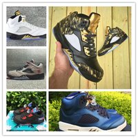 Wholesale Canvas Shoes Wings - 2016 air retro 5 V Wings Olympic Gold medal Neymar retro 5s Bronze Golden men basketball shoes sports shoes sneakers size 40-46 7-12