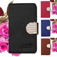 Wholesale Blue Shiny Bags - Wallet case For ZTE Blade Force N9517 For zte Tempo X N9137 Bling Shiny Diamond PU Leather with opp bags C