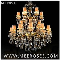 Grand 3 Tiers 24 Arms Crystal Chandelier Light Fixture Antique Brass Luxueux Cristal Lustre Lampe MD8504 L24 D1150mm H1400mm