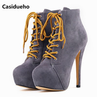 Wholesale Size 42 Wedges - Hot sale Lace Up Motorcycle Boots Platform Shoes Woman Sexy Thin High Heels 14CM Party Women Boots Shoes Ankle Botas Size 42