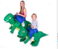 trajes dino venda por atacado-Dinossauro inflável Traje Cosplay Fan Operado Animal Dino Riders Costume Party - Trajes de Halloween Traje Do Partido Do Dia Das Bruxas-Fã