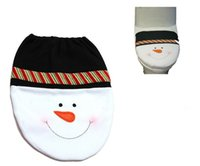 Wholesale Wholesale Acrylic Toilet Seat - Snowman Toilet Seat Cover and Rug Bathroom Set Christmas Decoration free shipping in stock