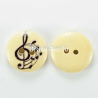 Wholesale Musical Quilt - Wholesale Free Shipping 100 Pcs Wood Sewing Buttons Scrapbooking Mixed Black Musical Note Pattern 15mm Knopf Bouton(W03955)
