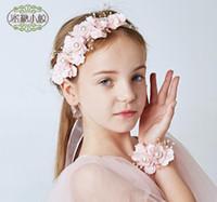 ingrosso cappelli da damigella d'onore-Ghirlande di fiori nuziali, damigelle d'onore, copricapi per bambini, ornamenti per capelli, fascia per capelli, bracciale