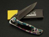 Wholesale Buck Da34 - Top quality Buck DA34 Pocket folding knife 440C 58HRC titanium blade outdoor camping hiking EDC pocket knife knives with Original paper box