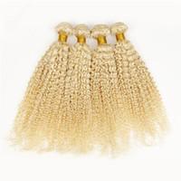 Wholesale Russian Curly Virgin Hair - Russian 613 Platinum Bleach Blonde Virgin Human Hair 4Bundles 9A Deep Curly Blonde Virgin Human Hair Weaves Double Wefts 4Pcs Lot