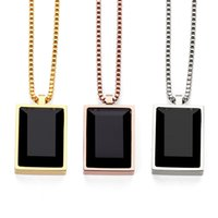 Wholesale cubic stone jewellery - High Quality Fashion Men Jewellery Hip Hop Box Chain PVD Rose Gold Plated Rock Pendant Mens Big Black Square Stone Necklaces & Pendants