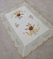 Wholesale Placemats Embroidery - Wholesale- 6pcs set Embroidery handmade flowers Placemats table mat Embroidery Doilies