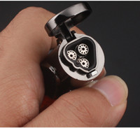 Wholesale New Gas Cigarette - New hot 100% High Quality Guarantee Windproof Triple Jet Flame Torch Cigar Lighter Refillable Gas Cigarette Cigar Lighter with Keychain