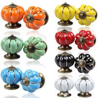 Wholesale ceramic dresser drawer knobs - 2Pcs Set Vintage Pumpkin Ceramic Door Knobs Cabinet Drawer Cupboard Kitchen Pull Handle 7 Colors Alloy for Wardrobe Dresser