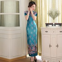 Wholesale Cheongsam Vestido - Free shipping Top Quality chinese dress oriental style dresses vestido tradicional cheongsam long qipao traditional chinese dress Blue