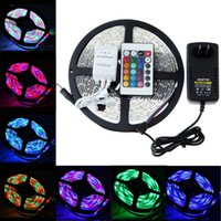 Wholesale Smd Led String - Led Flexible Strip RGB 5M SMD 5050 Light string 60LED Meter +IR Remote 24 Led Controller +Power supply