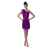 young ladies dresses Australia - Competitive Price One Shoulder Beaded Purple Short Party Dress Young Ladies Birthday Dress 2017 Pleated Design