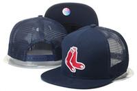 Wholesale Mesh Truckers Hat - 2017 New Men's Navy Blue Color Boston Red Sox Mesh Snapback Hats Fashion Hip Hop Summer Sports M&N Adjustable Baseball Trucker Caps