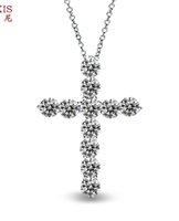 Wholesale Only Silver Jewelry - wholesale pendant Sterling silver solid 925 silver AAA zircon inlaid cross pendant women gift iice latest fashion Jewelry only pendant