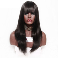 Wholesale layered lace wigs - Dark brown straight synthetic Full Female Wig 24 inches None Lace Wigs for black women layered Pelucas cosplay with bangs