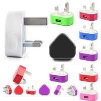 Wholesale Iphone Power Pin - Rainbow UK 3 pins USB Plug Charger AC Travel Home Wall charge Power Adapter for 3G 4G I9600 S6 S5 Note5 Android Phone