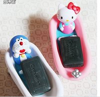 doraemon de moda al por mayor-Accesorios de baño Cartoon KITTY Doraemon Jabón Caja Moda Hotel Decoración Jabonera Almacenamiento hecho a mano Decoración del hogar Decoración