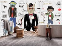 Wholesale Korean Clothes Sizing For Kids - Customized Any Size 3D Wall Mural Wallpaper Modern Abstract Painting Animal Clothing Store Coffee Shop Backdrop Decor Wallpaper