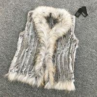 Wholesale Knit Vest Fur Collar - Wholesale-VR033 Women Genuine Natural Real rabbit fur Knitted Vests  Waistcoat  gilet  coats with tassels Raccoon Fur collar