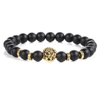 Wholesale Black Onyx Agate - Golden Lion Face Gap Beads Mens Beaded Stretch Semi Precious Black Onyx Obsidian Stone beaded Bracelet