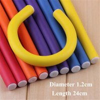 Wholesale Wholesale Flexi Rods - 5#Hair Curling Flexi Rods Magic Air Hair Roller Curler Bendy Hair Sticks Hairdressing Tool Multi-Color Hair Thick Stick Diameter 1.2cm