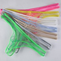 Wholesale Transparent G Strings White - Men's G-Strings Sexy Net Yarn Transparent Thongs Panties Men Transparent Bikini Low Waist Pants Underwear GAY Penis Pocket Wholesale