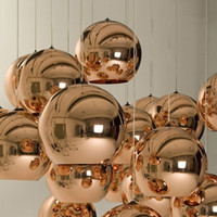 Wholesale Copper Pendant Ball Lamp - LED Pendant Lamp Copper   Sliver  gold Shade Mirror Chandelier Light E27 Bulb Modern Christmas Chandeliers Glass Ball droplight Lighting