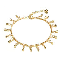 Wholesale bell chains - Classical 18k Yellow Gold Plated Anklet Bracelet Cute Bells Dangle Bracelet Chain Sexy Women Sandal Beach Jewelry, Adjustable