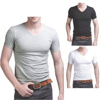 Wholesale Plain Tee Shirts Wholesale - Wholesale-2016 fashion new style Men's Cotton Short Sleeve T-Shirt Tee Crew Neck Solid Plain Tshirt NEW