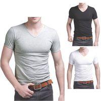 Wholesale Wholesale Plain Black T Shirts - Wholesale-2016 fashion new style Men's Cotton Short Sleeve T-Shirt Tee Crew Neck Solid Plain Tshirt NEW
