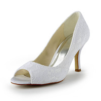 Wholesale Dress Shoes Bows - Dyeable Satin 8cm Heel Pump Elegant Style Open Shoe Toe Women Bridal Shoe Wedding Dress Shoes Handmade Shoe for Wedding Large Small Size