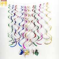 Wholesale Christmas Indoor Wall Decorations - 90Cm Party Decoration Colorful Wall Hanging Designs Helical Hangings PVC Plastic Decorators Wholesale Mixed Color 6Pcs Pack