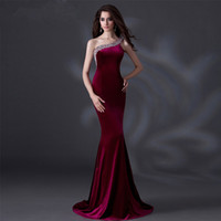 Wholesale Sequined Fishtail Prom Dress - SSYFashion Luxury Velour Banquet Evening Dress Sexy One Shoulder with Sequined Fishtail Long Party Prom Dresses Custom Catwalk Dress