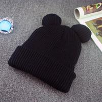 örgülü bere şapkaları toptan satış-1 adet Şapka Kadın Kış Kadınlar Için Şapka Caps Şeytan Boynuzları kedi Kulak Sevimli Tığ Örgülü Örgü Beanies Sıcak Çocuk Kap Şapka Homme Gorro