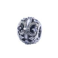 hacer fleur lis charm al por mayor-Nueva Clear Crystal Fleur De Lis Charm Beads Se adapta a las pulseras europeas Original 925 Sterling Silver Flower Bead Diy Joyería Fina Fabricación HB131