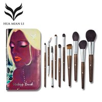 Wholesale wholesale wool bags - Huamianli Brand Wool Makeup Brushes Set Professional Solid Fiber Face Eye Lip Foundation Powder Make Up Cosmetic Brush With Bag