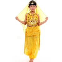 Wholesale Belly Dance Pants Set - Children Belly Dance Skirt Costume Set Indian Dance Costume Clothes Belly Dance Costume Girl 2pcs 3pcs Clothes + Pants