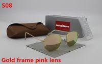 Wholesale Protect Flash - 1pcs New high quality fashion designer men's brand 3548 sunglasses golden frame Pink flash glass 51 mm lens UV400 protect brown case