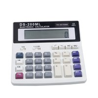 Atacado- Botões grandes Office Calculator Office usando Muti-função calculadora DS-200ML Grandes chaves Computador de energia dual Solar 12 Digits
