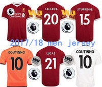 Wholesale Lucas Red - Thai quality 2017 Gerrard Jersey 17 18 home The Premier League WU away white orange COUTINHO MANE Sturridge Lucas Soccer football shirts.