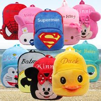 Wholesale Shoulder Bag Duck - Super man Minnie plush Toys Backpacks Stuffed plush toddler bags child birthday gift yellow duck plush shoulder bags