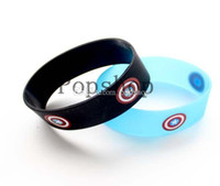 Wholesale Design Custom Silicone Wristbands - Avengers Captain America Bracelet,Custom Design Logo Color Printedsilicone Wristband,Promotaion Band,50pcs lot,Free Shipping