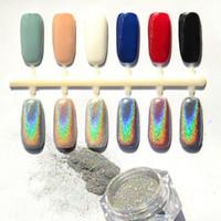 Wholesale Metallic Glitter Nail Polish - 2016 Newest Hot 5g Mirror Chrome Refective Nail Powder Metallic Nail Polish Effect Glitter Shinning Pigment with 2 Brush Tools Nail Art