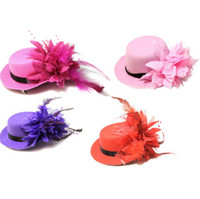 Wholesale mini party top hats - Vintage women bride fascinator mini top hat cap wedding ribbon gauze lace feather flower hats party hair clips caps millinery hair jewelry