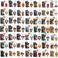 Wholesale action figure design - 55 Designs Funko POP Action Figurines Toys Keychain Avengers Harry Potter Black Panthe PVC Cartoon Action Figures Keychain Kids Gifts LA527