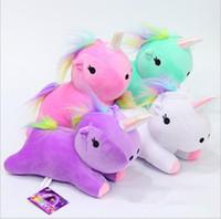 Wholesale rainbow pony - unicorn plush toy Rainbow pony Dash doll Kawaii toy For Children Gift For Girl Unicorn Plush Toy Stuffed Animal Doll 23cm LJJK752