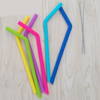 Wholesale Sucker Silicone - Reusable Silicone Eco Straws for Smoothie Flexible Sucker 5 color Drinking Straw for Mugs Tumbler Silicone Stripes Suckers Free Shipping