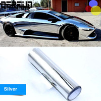 Wholesale red chrome vinyl - Stretchable Chrome Mirror Colorful Car Vinyl Wrapping Waterproof Silver Vinyl Wrap Sheet Film Car Styling Stickers 1.52*20m roll
