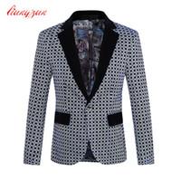 Wholesale Costume Suit Jacket - Wholesale-Men Blazer Suit Costume Homme Brand Casual Business Fashion Plaid Blazer Jacket Male Plus Size M-5XL Wedding Suit Jacket F2105